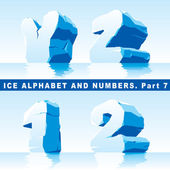 Ice alphabet Part 7 and numbers Part 1 — Stock Vector