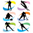 Set winter sport icons — Stock Vector