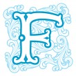 Winter vintage letter F — Stock Vector