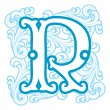 Winter vintage letter R — Stock Vector