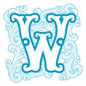 Winter vintage letter W — Stock Vector