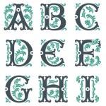 Vintage alphabet. Part 1 — Stock Vector