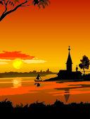 Russian north sunset — Stockvector