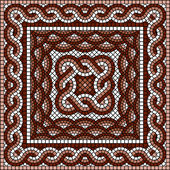 正方形ギリシャ語モザイク — ストックベクタ