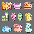 Line food labels — Stockvektor
