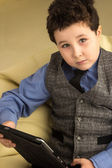 Boy with tablet computer — Stock Photo