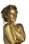 Donna d'oro con perle — Foto Stock