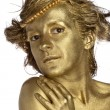 Golden woman with pearls — Stock Photo #17595775