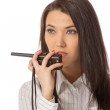 Business woman on the walkie-talkie — Stock Photo