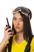 Construction manager with cb radio close up portrait. — Stock Photo
