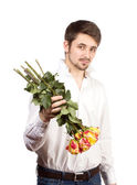Man with bouquet of red roses. — Stock Photo