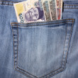 Stock Photo: Closeup of striped male jeans with nairas in pocket