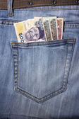 Closeup of striped male jeans with nairas in a pocket — Stock Photo