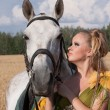 Horse and butiful woman face to face — Photo