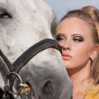 Horse and butiful woman face to face — Stock Photo