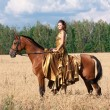 Woman with horse — Foto de Stock