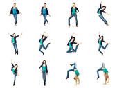 Set of Dancer girl, isolated on white — Stok fotoğraf