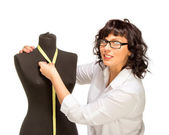 Adult tailor with mannequin — Stock Photo