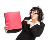 Cheerful senior business woman with folder — Stock Photo