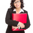 Cheerful senior business woman with folder — Stock Photo #45270603