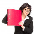 Cheerful senior business woman with folder — Stock Photo #45270667