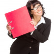 Cheerful senior business woman with folder — Stock Photo #45270669