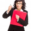 Cheerful senior business woman with folder — Stock Photo #45270671