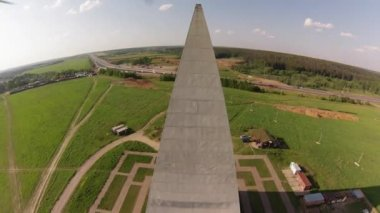 Air view on 44 meters high Golod Pyramid in Moscow region, Russia — Stock Video