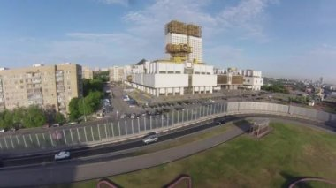 "Air view on ""Golden brains"" - building of Russian Academy of Sciences — Stock Video"