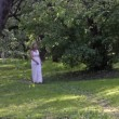 Beautiful Bride Dress Young Woman Walking Forest Nature Sunlight — Stock Video #48422859