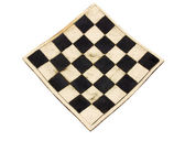 Empty curved ceramic chess board isolated on white background — Stock Photo