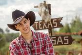 Cowboy on sign background. — Stock Photo
