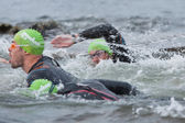 Triathlon swimmers — Stock Photo