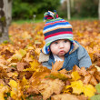 Baby boy in autumn leaves — ストック写真