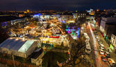 Christmas Market at night, panoramic view — Stock Photo