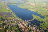 Aerial view over the lake. Amsterdam suburbs — Stock Photo