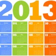 Calendar for Year 2013 - Stockvectorbeeld