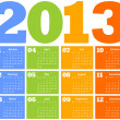 Calendar for Year 2013 - Stock Vector