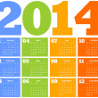 Stock Vector: Calendar for Year 2014