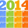 Calendar for Year 2014 - Stockvectorbeeld