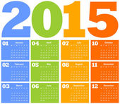 Calendar for Year 2015 — Stockvektor