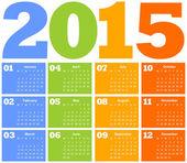 Calendar for Year 2015 — Stock Vector