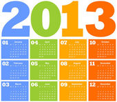 Calendar for Year 2013 — Vettoriale Stock