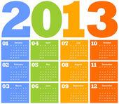 Kalender voor het jaar 2013 — Stockvector
