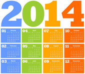 Calendar for Year 2014 — Vector de stock