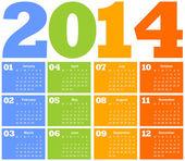 Kalender voor het jaar 2014 — Stockvector