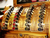 Antique store cash register buttons close — Stok fotoğraf