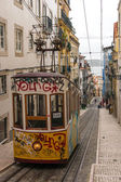 Short and quick trams in Lisbon, Portugal. — Stock Photo