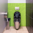 Stainless steel toilet — Stockfoto
