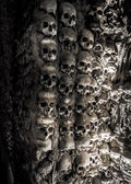 Wall full of skulls and bones — Stok fotoğraf